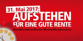 Logo Pendleraktion Rente mit Slogan und Uhr