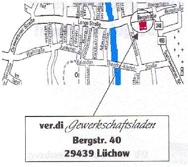 Karte von Lüchow und Gewerkschaftsladen ver.di